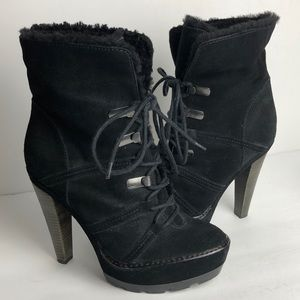 Coach Sydney Shearling Fur Heeled Ankle Boots 7.5
